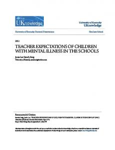 TEACHER EXPECTATIONS OF CHILDREN WITH MENTAL ILLNESS IN THE SCHOOLS