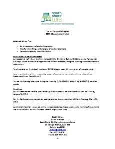 Teacher Externship Program Application Packet
