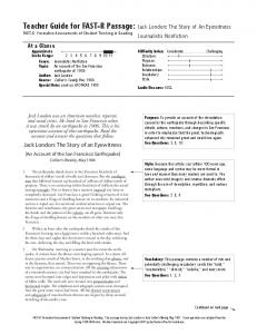 Teacher Guide for FAST-R Passage: FAST-R: Formative Assessments of Student Thinking in Reading