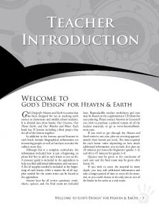 Teacher. Introduction. God s Design for Heaven and Earth is a series that. Welcome to. God s Design for Heaven & Earth