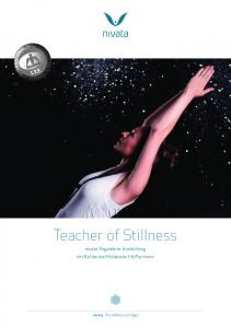 Teacher of Stillness. nivata Yogalehrer Ausbildung mit Katharina Middendorf & Partnern. nivata. The Stillness of Yoga