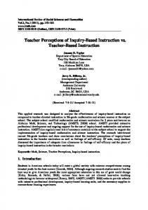 Teacher Perceptions of Inquiry-Based Instruction vs. Teacher-Based Instruction