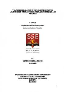 TEACHER PREPARATION IN IMPLEMENTING FLIPPED LEARNING FOR TERTIARY EDUCATION: SELF-EFFICACY AND PRACTICE A THESIS