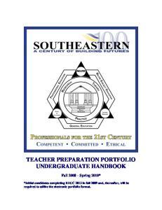 TEACHER PREPARATION PORTFOLIO UNDERGRADUATE HANDBOOK