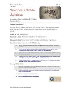 Teacher s Guide: Ableism