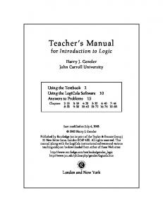 Teacher s Manual for Introduction to Logic