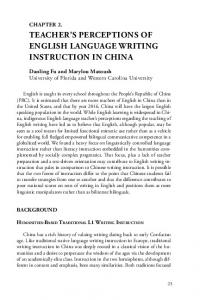 TEACHER S PERCEPTIONS OF ENGLISH LANGUAGE WRITING INSTRUCTION IN CHINA