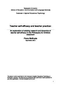 Teacher self-efficacy and teacher practice: