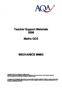 Teacher Support Materials Maths GCE MECHANICS MM03