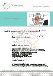 Teacher training courses