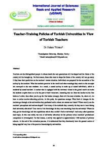 Teacher-Training Policies of Turkish Universities in View of Turkish Teachers