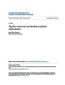 Teacher voice tone and student academic achievement