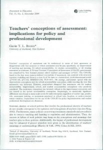 Teachers' conceptions of assessment: implications for policy and professional development