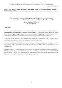 Teachers ICT Literacy and Utilization in English Language Teaching