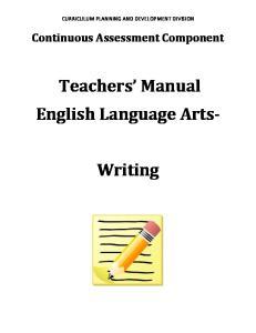 Teachers Manual English Language Arts- Writing