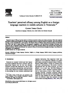 Teachers perceived efficacy among English as a foreign language teachers in middle schools in Venezuela $