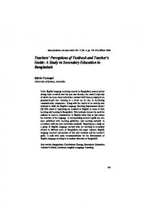 Teachers Perceptions of Textbook and Teacher s Guide: A Study in Secondary Education in Bangladesh