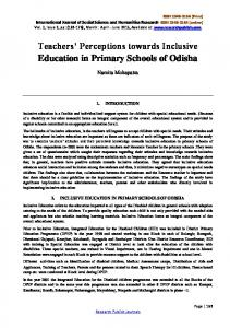 Teachers Perceptions towards Inclusive Education in Primary Schools of Odisha
