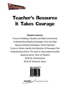 Teacher's Resource It Takes Courage