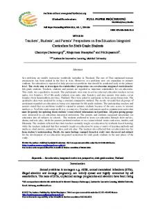 Teachers, Students, and Parents Perspectives on Sex Education Integrated Curriculum for Sixth Grade Students