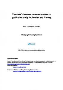 Teachers' views on values education: A qualitative study in Sweden and Turkey