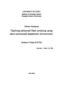 Teaching advanced Bash scripting using semi-automated assessment environment