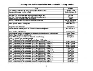 Teaching Aids available to borrow from the School Library Service