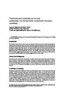 TEACHING AND LEARNING ACTIVITIES: