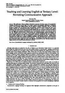 Teaching and Learning English at Tertiary Level: Revisiting Communicative Approach