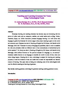 Teaching and Learning Grammar for Teens Using Technological Tools