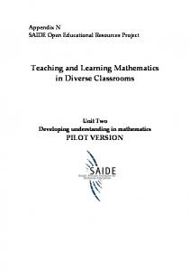 Teaching and Learning Mathematics in Diverse Classrooms
