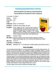 Teaching Apprenticeship in German