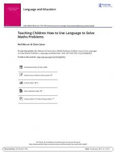 Teaching Children How to Use Language to Solve Maths Problems