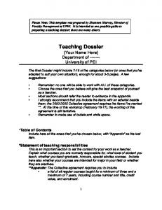 Teaching Dossier {Your Name Here} Department of University of PEI