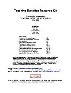 Teaching Evolution Resource Kit
