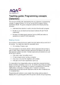 Teaching guide: Programming concepts (Selection)