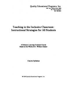 Teaching in the Inclusive Classroom: Instructional Strategies for All Students