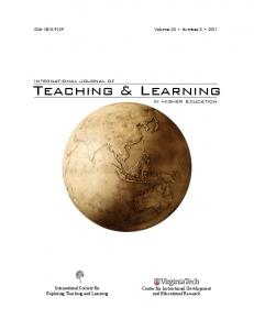 Teaching & Learning. International Journal of. In Higher Education. International Society for Exploring Teaching and Learning