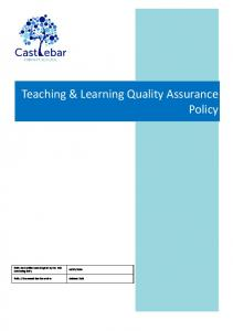 Teaching & Learning Quality Assurance Policy
