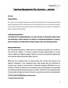 Teaching Management Plan Summary Jamaica