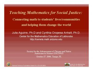Teaching Mathematics for Social Justice: