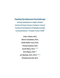 Teaching Psychodynamic Psychotherapy