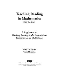 Teaching Reading in Mathematics