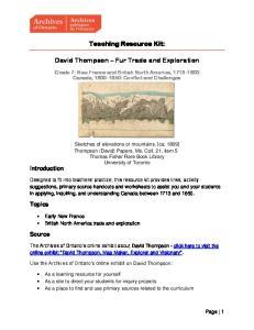 Teaching Resource Kit: David Thompson Fur Trade and Exploration