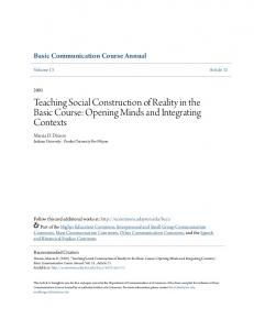 Teaching Social Construction of Reality in the Basic Course: Opening Minds and Integrating Contexts
