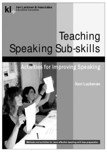 Teaching Speaking Sub-skills