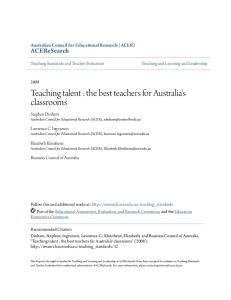 Teaching talent : the best teachers for Australia's classrooms