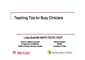 Teaching Tips for Busy Clinicians