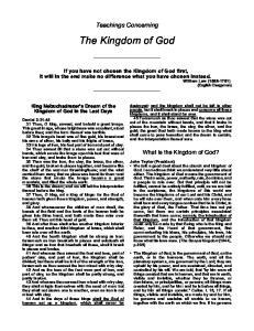 Teachings Concerning. The Kingdom of God