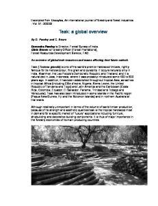 Teak: a global overview